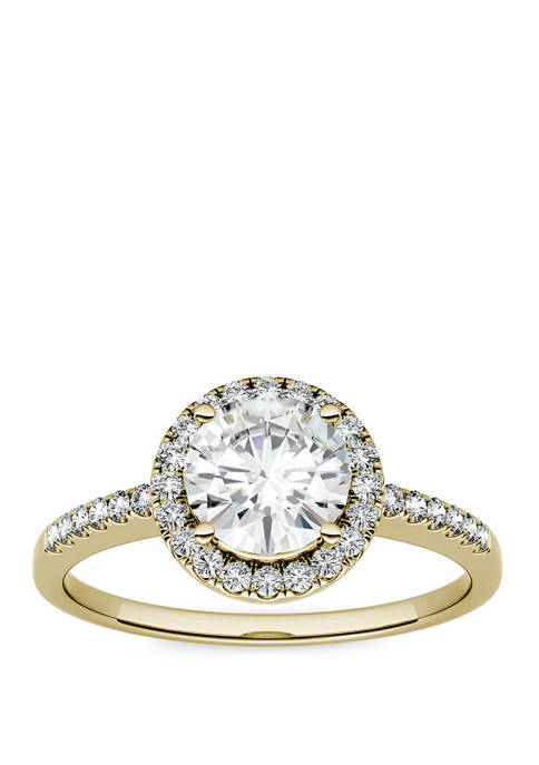 1.3 ct. t.w. Lab Created Moissanite Halo Ring in 14K Yellow Gold