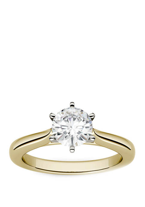 1.5 ct. t.w. Lab Created Moissanite Solitaire Ring in 14K Yellow Gold