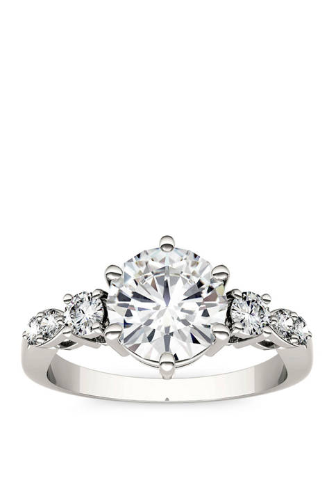 2.22 ct. t.w. Lab Created Moissanite Engagement Ring in 14K White Gold