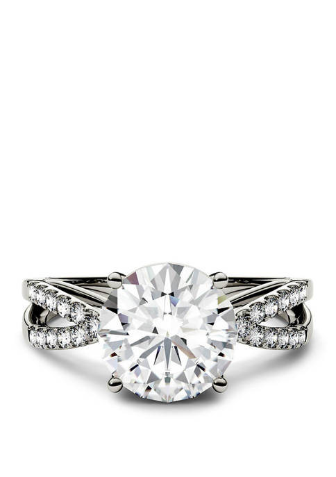 2.92 ct. t.w. Lab Created Moissanite Engagement Ring in 14K White Gold