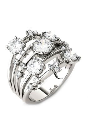 Charles Colvard Women 3.13. Ct. T.W. Lab Created Moissanite Statement Ring In 14K White Gold