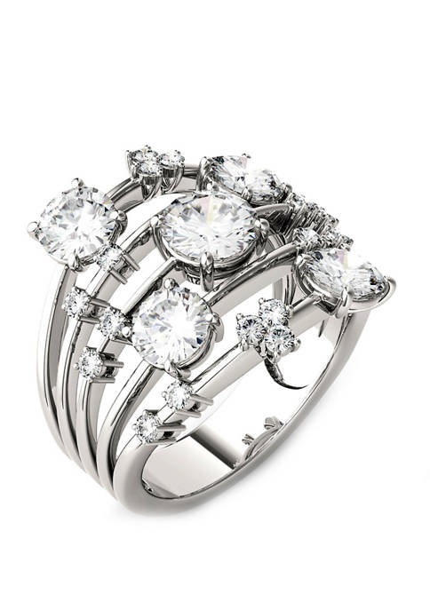 3.13. ct. t.w. Lab Created Moissanite Statement Ring in 14K White Gold