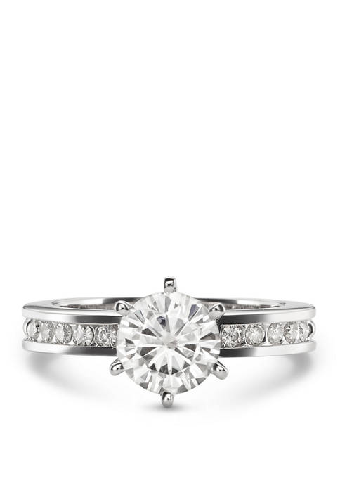 1.7 ct. t.w. Lab Created Moissanite Engagement Ring in 14K White Gold
