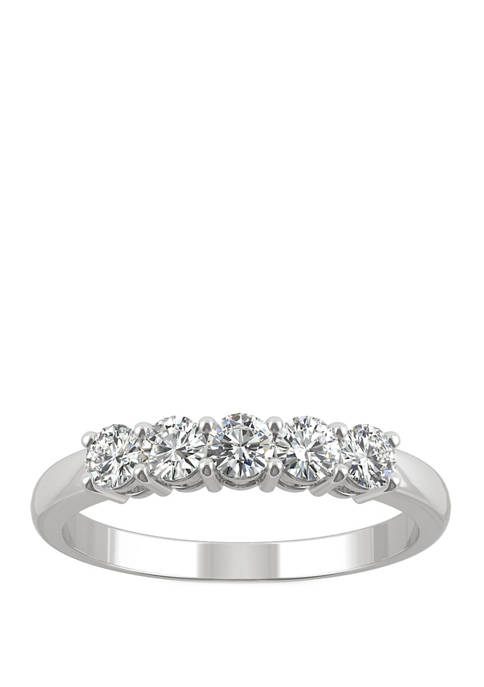 Lab Created Moissanite Five Stone Band