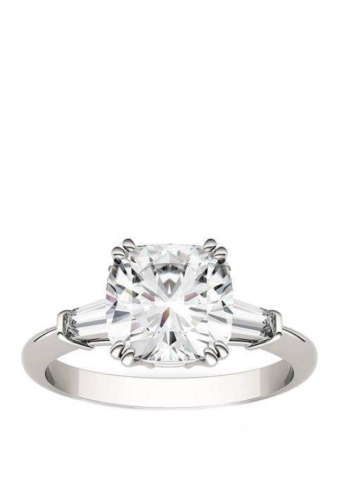 2.77 ct. t.w. Lab Created Moissanite 3 Stone Ring in 14K White Gold