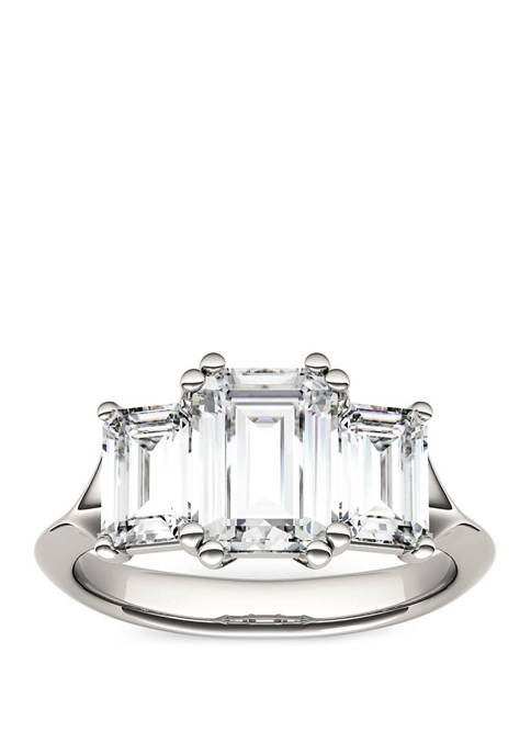2.91 ct. t.w. Lab Created Moissanite Three Stone Ring in 14K White Gold