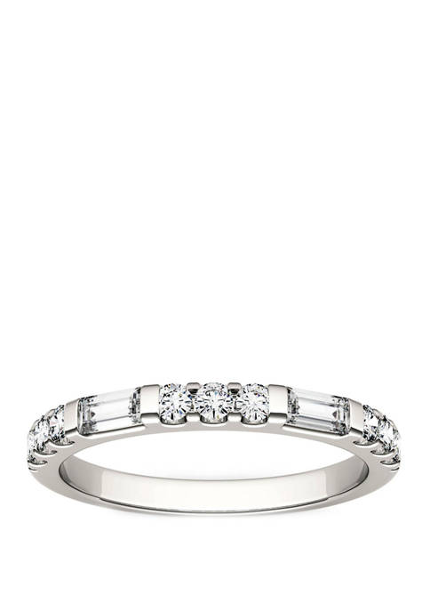 1/2 ct. t.w. Lab Created Moissanite Stackable Band in 14K White Gold
