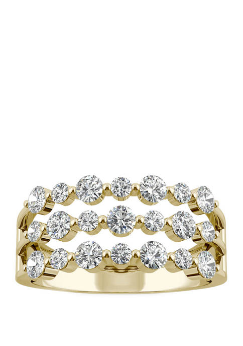 7/8 ct. t.w. Lab Created Moissanite 3 Row Band in 14K Yellow Gold