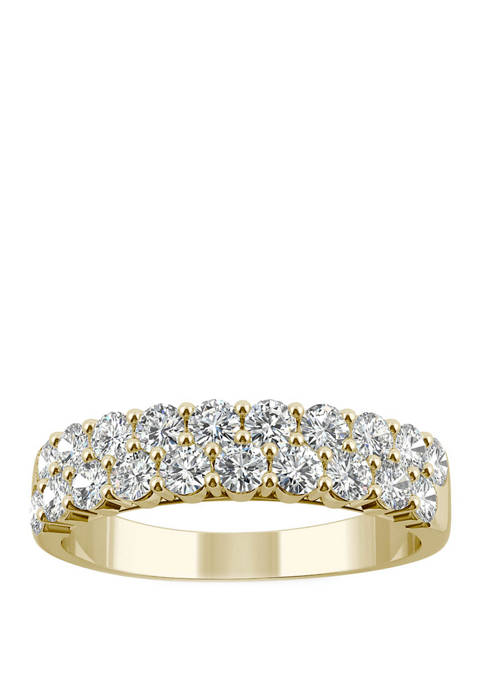 3/8 ct. t.w. Lab Created Moissanite Two Row Band in 14K Yellow Gold