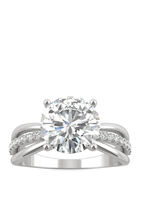 2.9 ct. t.w. Lab Created Moissanite Engagement Ring in 14K White Gold