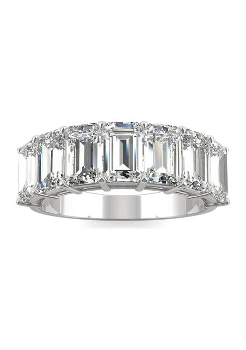 4 ct. t.w. Lab Created Moissanite Emerald Cut Seven Stone Ring in 14k White Gold
