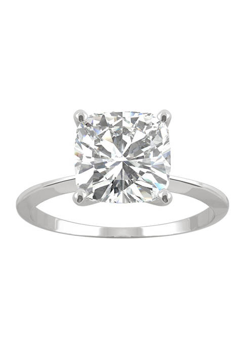 3/8 ct. t.w. Lab Created Moissanite Solitaire Cushion Ring in 14k White Gold