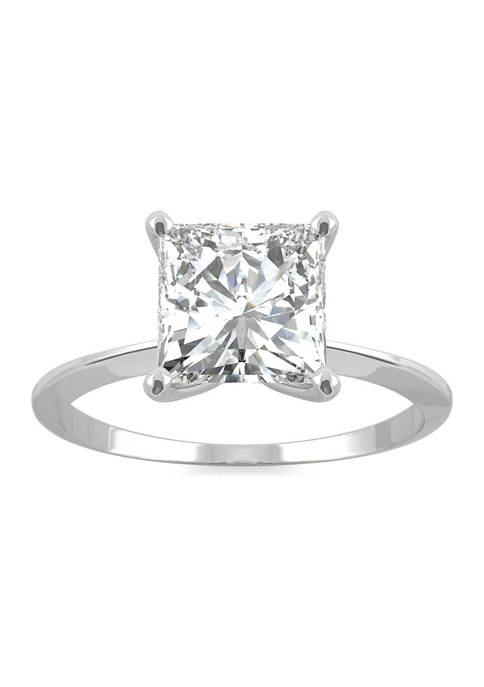 7/8 ct. t.w. Lab Created Moissanite Princess Solitaire Ring in 14k White Gold