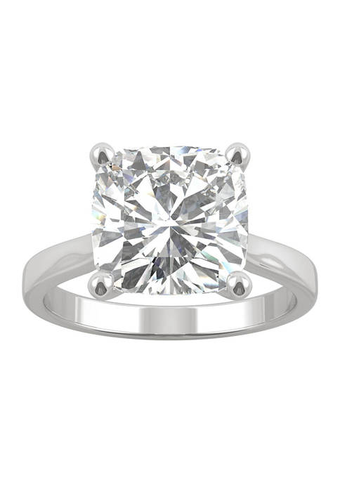 1/5 ct. t.w. Lab Created Moissanite Cushion Solitaire Ring in 14k White Gold