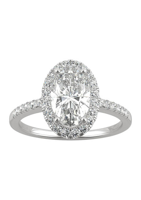 5/8 ct. t.w. Lab Created Moissanite Oval Halo Engagement Ring in 14k White Gold
