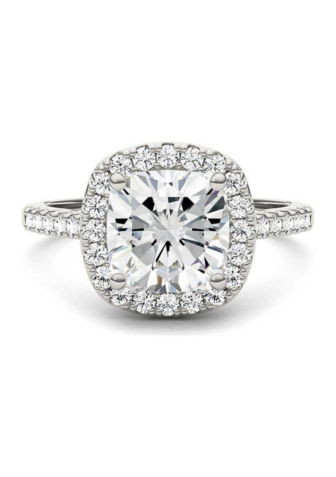 7/8 ct. t.w. Lab Created Moissanite Cushion Halo Engagement Ring in 14k White Gold