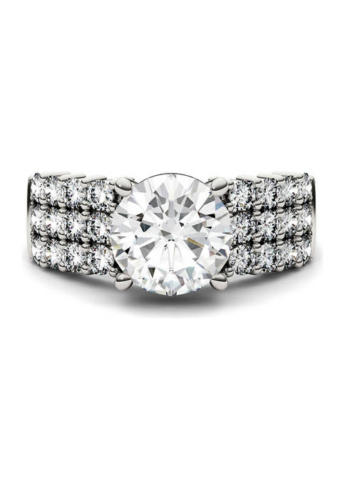 7/8 ct. t.w. Lab Created Moissanite Three Row Engagement Ring in 14k White Gold