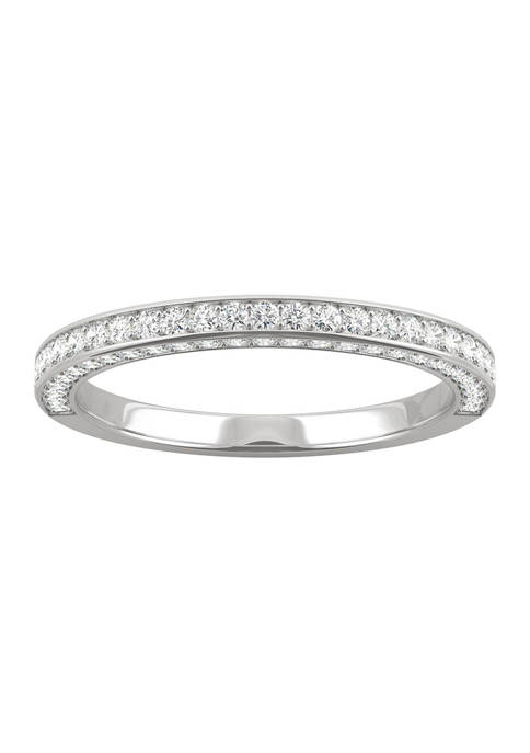 5/8 ct. t.w. Lab Created Moissanite Three Sided Band in 14k White Gold