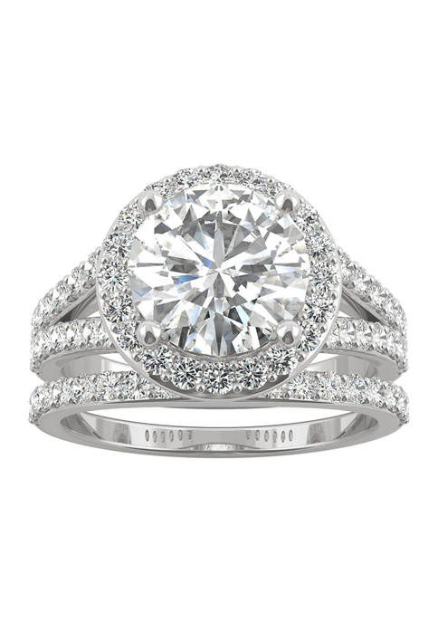 3/4 ct. t.w. Lab Created Moissanite Halo Bridal Set in 14k White Gold