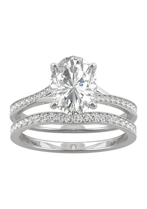 3/8 ct. t.w. Lab Created Moissanite Oval Bridal Set in 14k White Gold