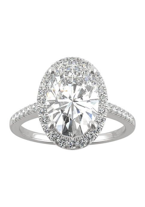 3/4 ct. t.w. Lab Created Moissanite Oval Halo Engagement Ring in 14k White Gold
