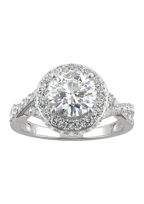 3/4 ct. t.w. Lab Created Moissanite Halo Engagement Ring in 14k White Gold