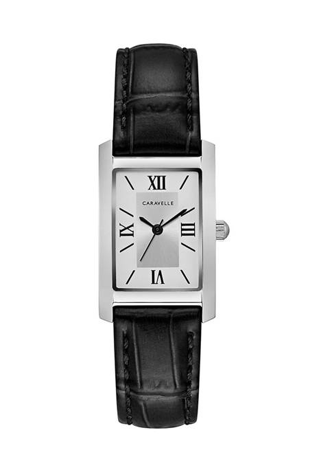 Caravelle by Bulova Womens Rectangle Leather Watch