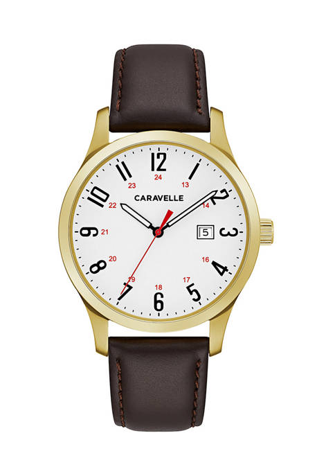 Caravelle by Bulova Mens Gold Tone Leather Watch