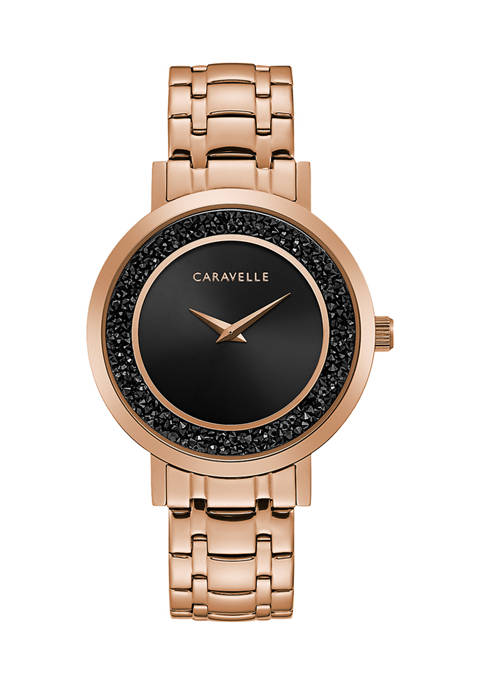 Caravelle by Bulova Womens Rose Gold Crystal Watch