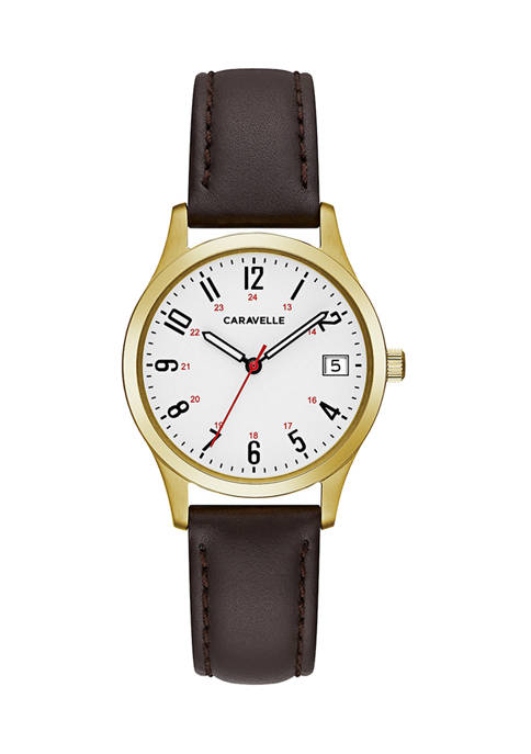 Caravelle by Bulova Womens Gold Tone Leather Watch