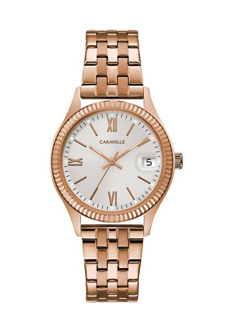 Caravelle by Bulova Womens Rose Gold Bracelet Watch