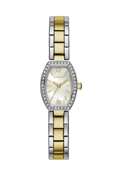 Caravelle by Bulova Womens 2 Tone Crystal Watch