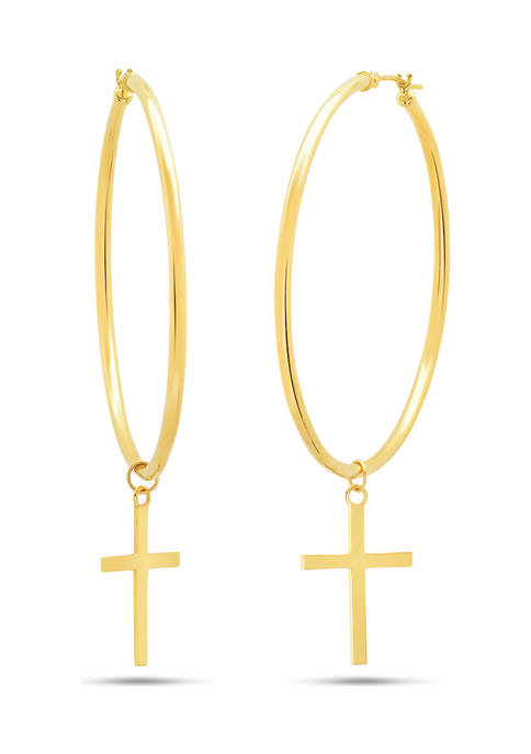 14K Yellow Gold 50 Millimeter Hoop with Holy Cross Charm Earrings