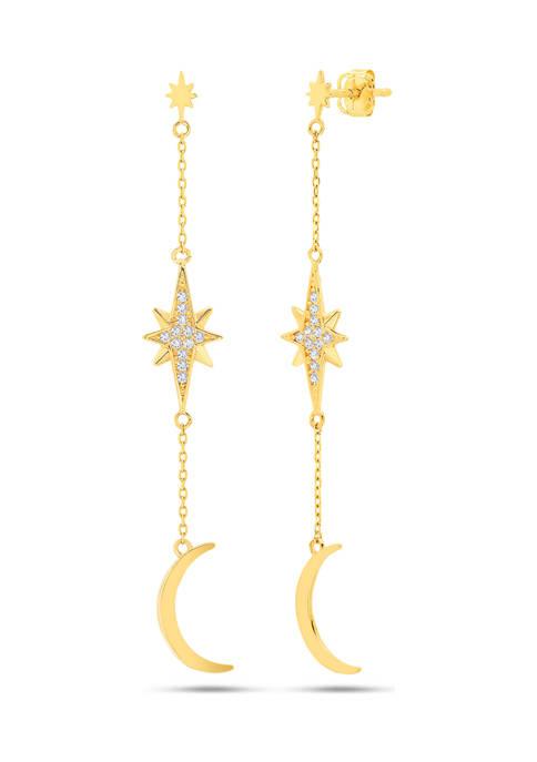 14K Yellow Created White Sapphire Gold Star, Starburst & Crescent Dangle Post Earrings