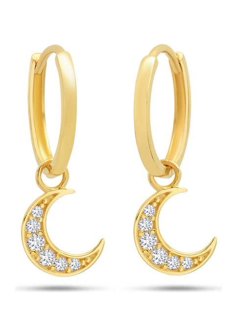 14K Yellow Gold Created White Sapphire Crescent Dangle Huggie Hoop Earrings
