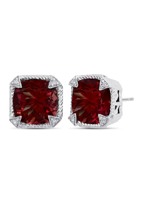 Sterling Silver 10 Millimeter 8 ct. t.w. Triangular CZ Prong With Roped Border Cushion-Cut Garnet Stud Earrings