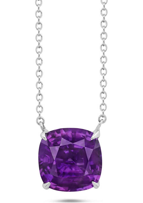 Sterling Silver 8 Millimeter 2 ct. t.w. 4-Prong Amethyst Classic Cushion Pendant