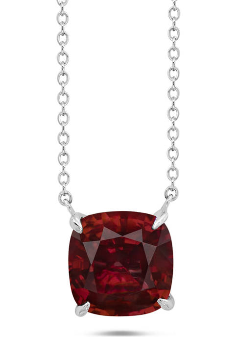 Sterling Silver 8 Millimeter 2.5 ct. t.w. 4-Prong Garnet Classic Cushion Pendant