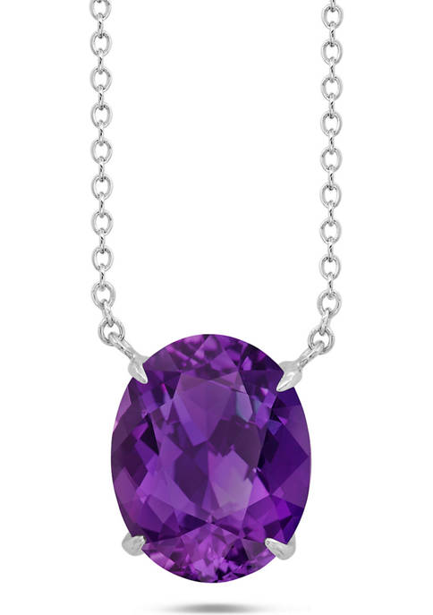 Sterling Silver 10x8mm 2.5 ct. t.w. 4-Prong Amethyst Classic Oval Pendant