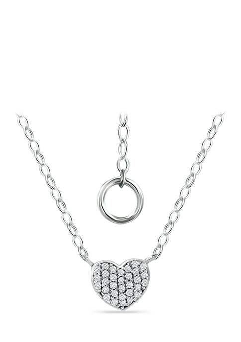 1/6 ct. t.w. Diamond Heart Necklace in Sterling Silver
