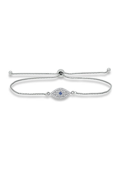 1/5 ct. t.w. Diamond and Synthetic Blue Evil Eye Adjustable Bracelet in Sterling Silver
