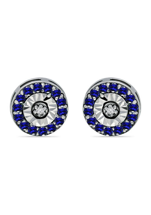 1/2 ct. t.w. Sapphire and 1/10 ct. t.w. Diamond Halo Stud Earrings in Sterling Silver