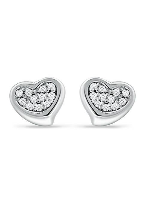1/10 ct. t.w. Diamond Heart Stud Earrings in Sterling Silver