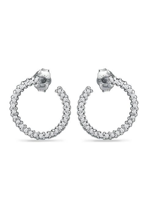 1/4 ct. t.w. Diamond Hoop Earrings in Sterling Silver