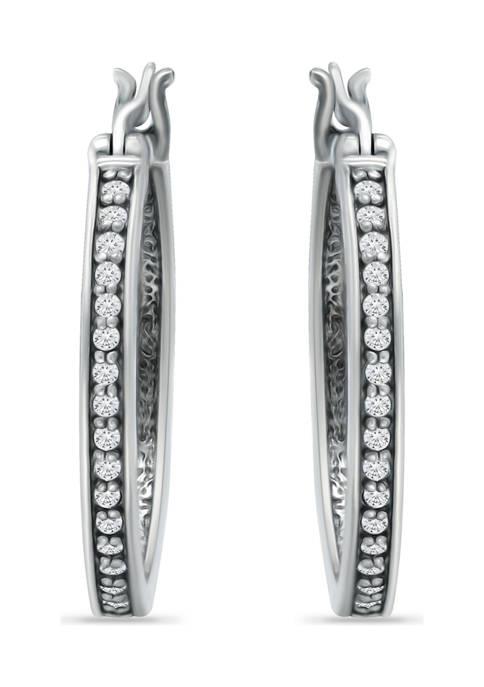 1/3 ct. t.w. White Topaz Hoop Earrings in Sterling Silver
