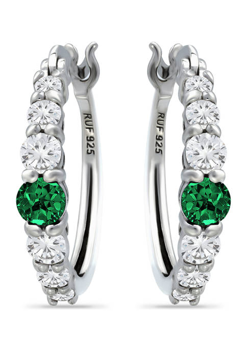1/2 ct. t.w. Nano Emerald and 5/8 ct. t.w. Created White Sapphire Hoop Earrings in Sterling Silver