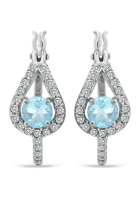 2.34 ct. t.w. Blue Topaz and White Topaz Hoop Earrings in Sterling Silver
