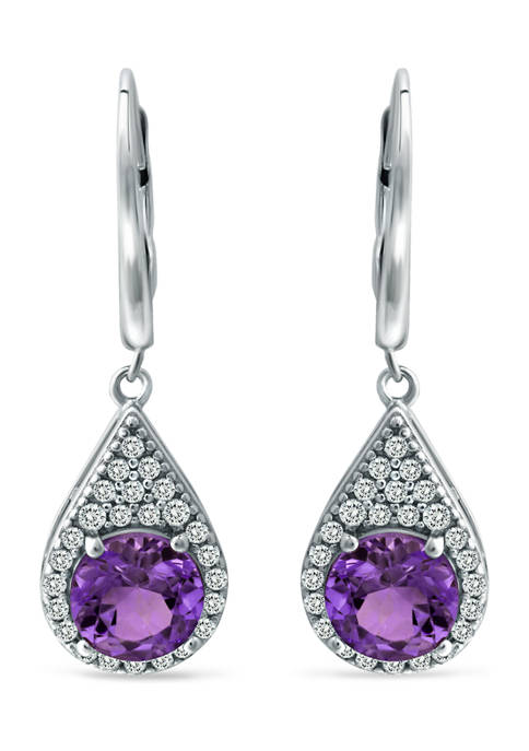 2.8 ct. t.w. African Amethyst and Created White Sapphire Lever Back Drop Earrings in Sterling Silver