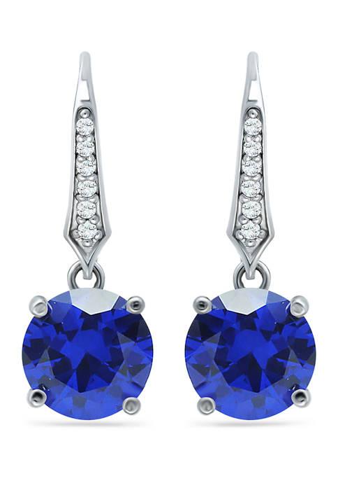 5.10 ct. t.w. Nano Blue Sapphire & Created White Sapphire Drop Earrings in Sterling Silver
