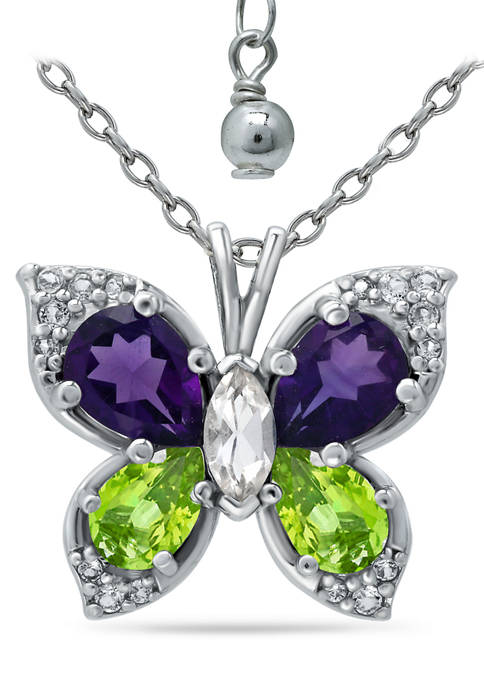 2.2 ct. t.w. Amethyst, Peridot and White Topaz Butterfly Pendant in Sterling Silver